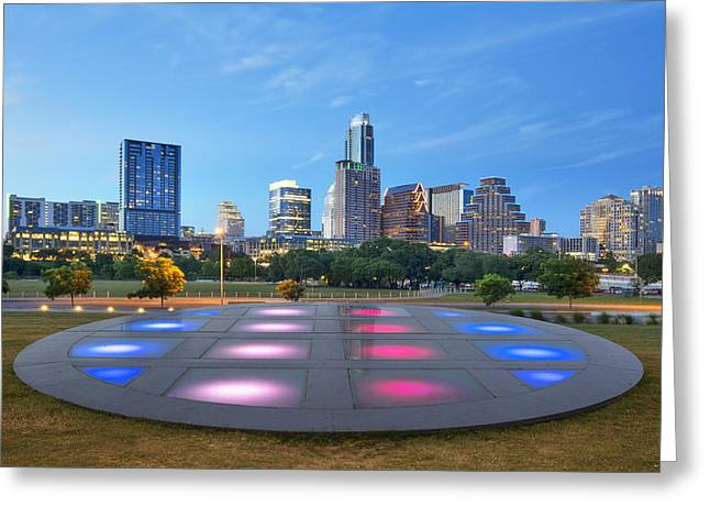 Print Photographs Greeting Cards - Downtown Austin Skyline on a Summer Evening 2 Greeting Card by Rob Greebon
