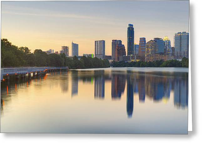 Downtown Austin Greeting Cards - Downtown Austin Texas Skyline Pano from the Boardwalk 1 Greeting Card by Rob Greebon