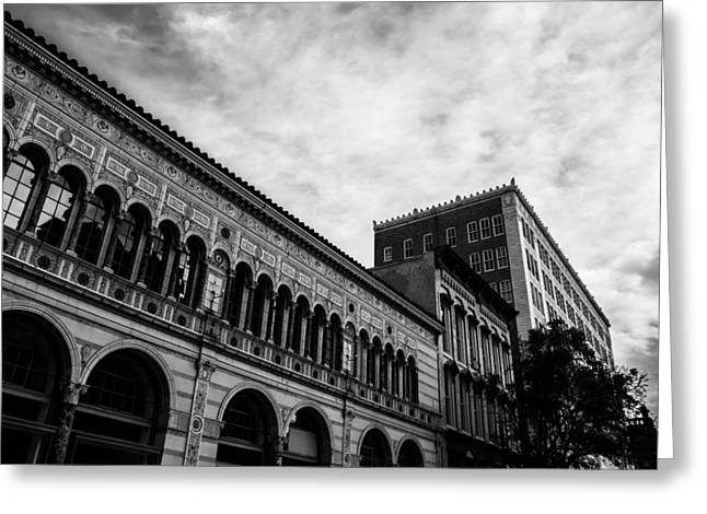 Lengthy Greeting Cards - Downtown Birmingham in Monochrome Greeting Card by Shelby  Young