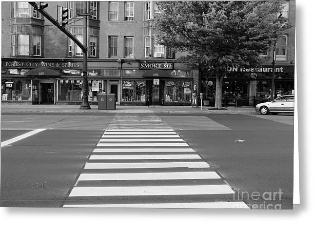 Main Street Greeting Cards - Downtown Black and  White Greeting Card by Marcel  J Goetz  Sr
