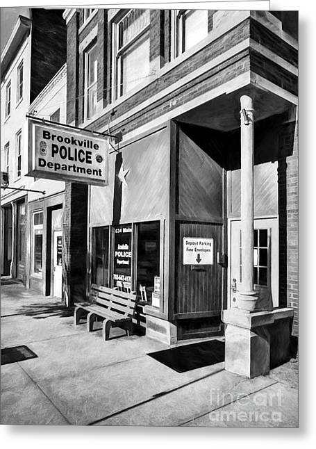 Downtown Brookville Indiana Black And White Greeting Card by Mel Steinhauer