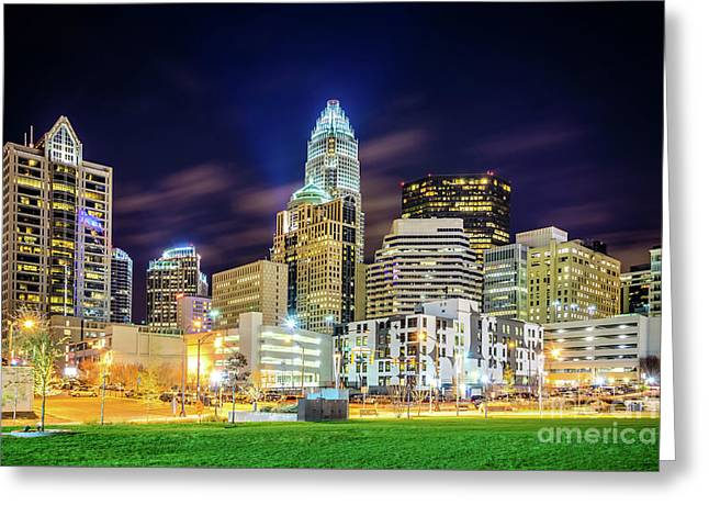 Downtown Charlotte North Carolina City At Night Greeting Card by Paul Velgos