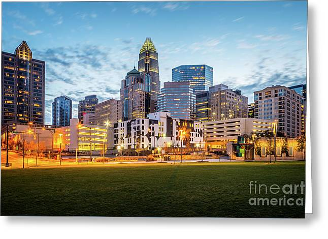 Downtown Charlotte Skyline At Dusk Greeting Card by Paul Velgos