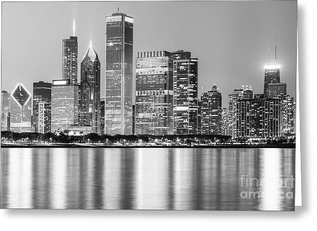 Downtown Chicago Skyline Black And White Photo Greeting Card by Paul Velgos