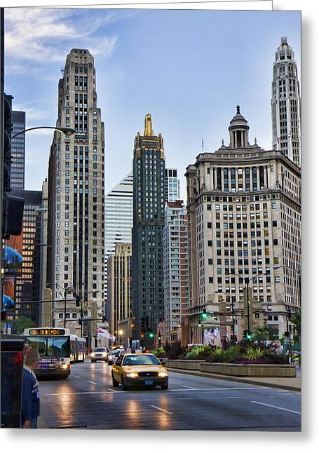 Downtown Chicago Traffic Greeting Card by Paul Bartoszek