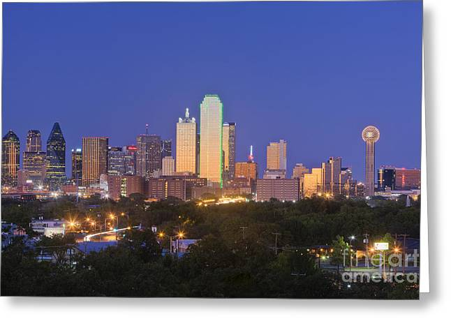 Downtown Dallas Skyline At Dusk Greeting Card by Jeremy Woodhouse