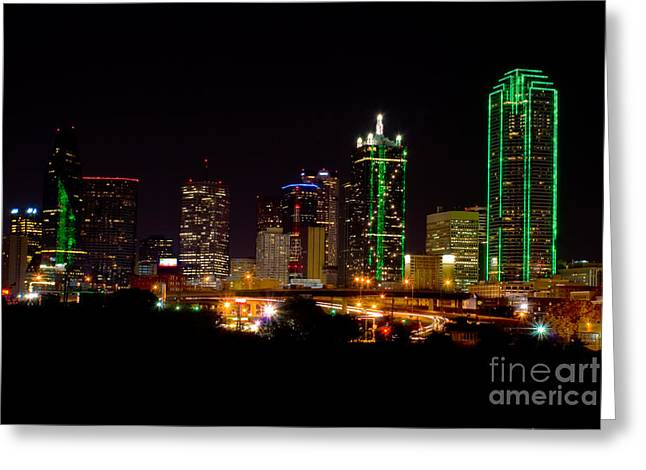 Metroplex Office Greeting Cards - Downtown Dallas Texas night Greeting Card by Anthony Totah
