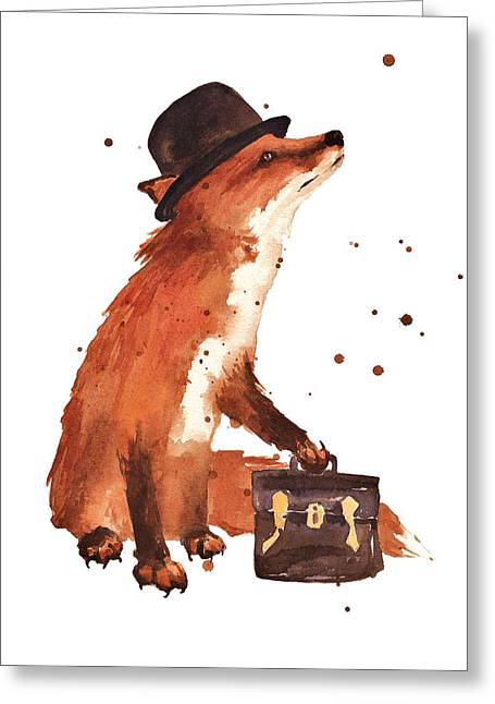 Whimsical Animals Greeting Cards - Downtown Fox Greeting Card by Alison Fennell