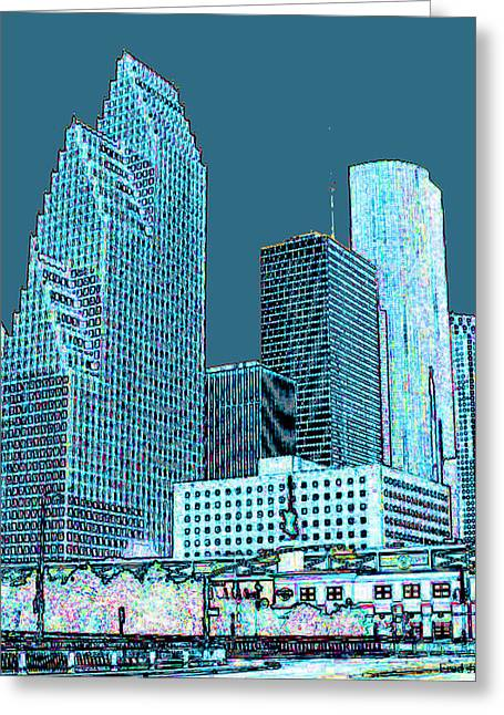 Office Space Greeting Cards - Downtown Houston Greeting Card by Fred Jinkins
