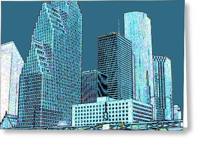 Downtown Houston Greeting Card by Fred Jinkins