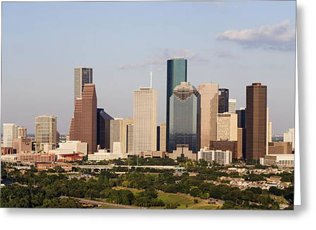 Downtown Houston Skyline Greeting Card by Jeremy Woodhouse