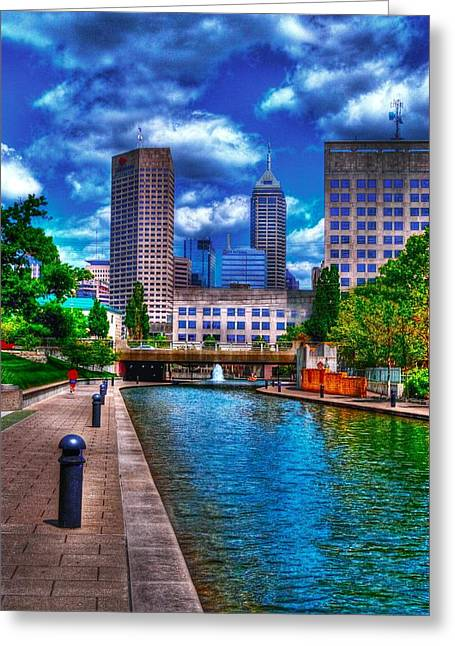 Downtown Indianapolis Canal Greeting Card by David Haskett
