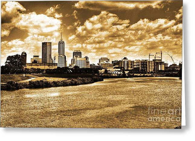 White River Greeting Cards - Downtown Indianapolis Skyline Dark Toned Greeting Card by David Haskett