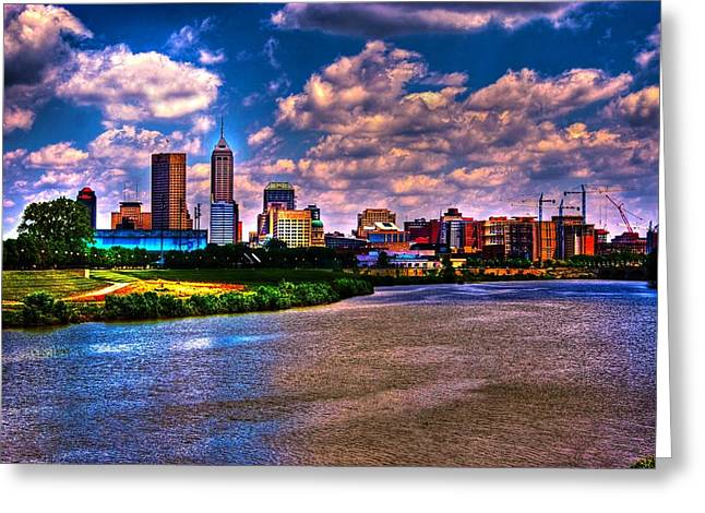 Surreal Landscape Digital Greeting Cards - Downtown Indianapolis Skyline Greeting Card by David Haskett