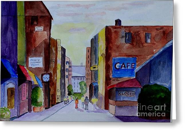 Purple Awnings Greeting Cards - Downtown Greeting Card by Joe Hagarty