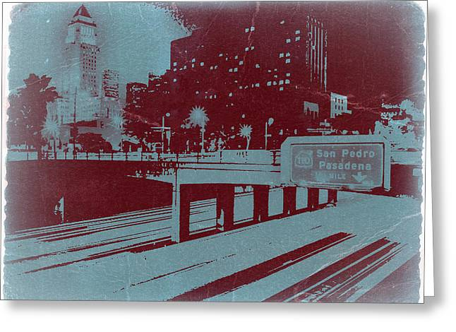 Los Angeles Freeways Greeting Cards - Downtown LA Greeting Card by Naxart Studio
