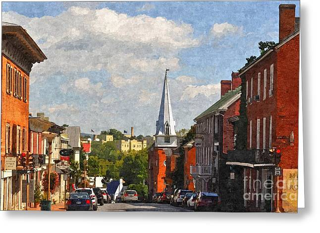 Rockbridge County Greeting Cards - Downtown Lexington 3 Greeting Card by Kathy Jennings