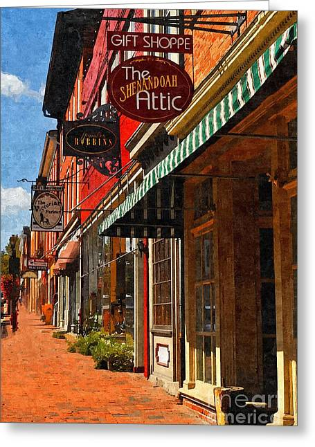 Vmi Greeting Cards - Downtown Lexington Greeting Card by Kathy Jennings