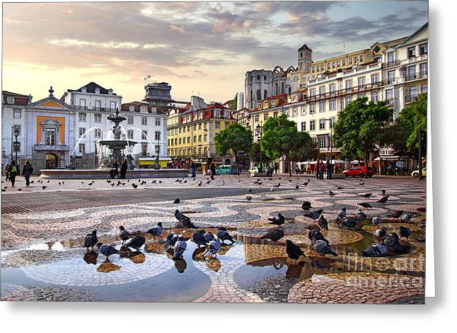 Downtown Lisbon Greeting Card by Carlos Caetano