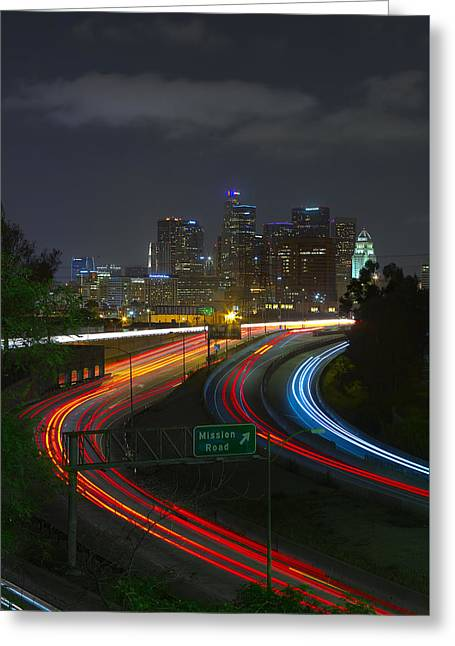 Merging Greeting Cards - Downtown Los Angeles at Night Greeting Card by Brian Knott - Forget Me Knott Photography
