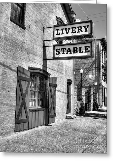Indiana Art Greeting Cards - Downtown Madison Indiana BW Greeting Card by Mel Steinhauer