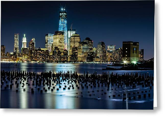 Downtown Manhattan And Old Pier Remains Greeting Card by Val Black Russian Tourchin