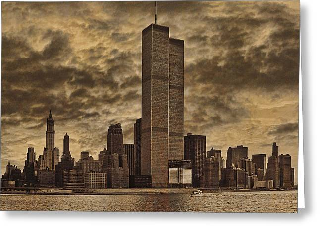 Twin Towers Greeting Cards - Downtown Manhattan Circa Nineteen Seventy Nine  Greeting Card by Chris Lord