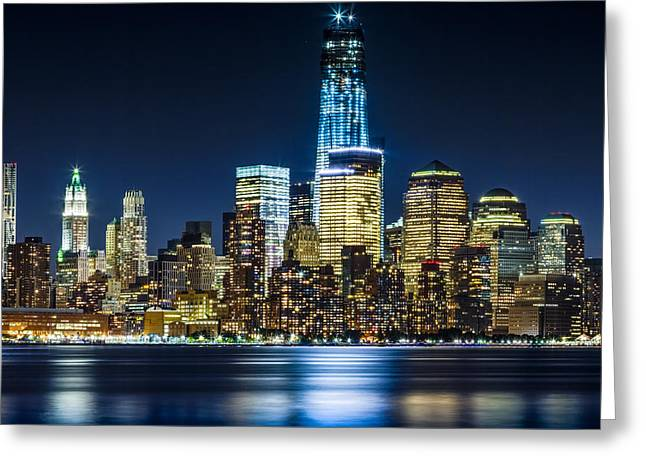 Downtown Manhattan From Hoboken Greeting Card by Val Black Russian Tourchin