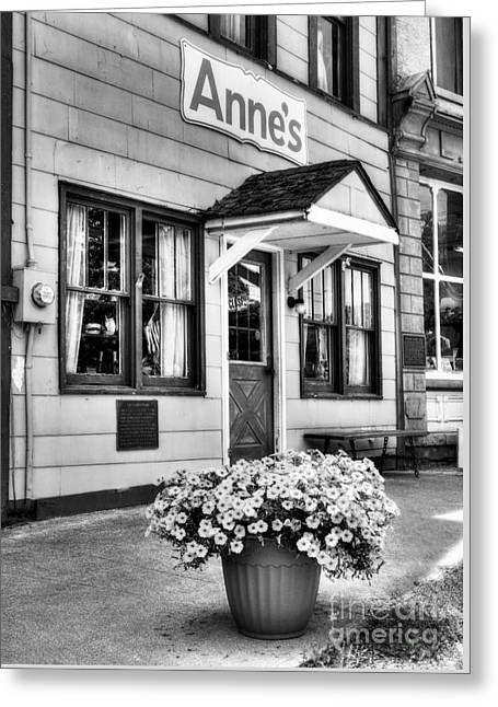 Indiana Flowers Greeting Cards - Downtown Metamora Indiana BW Greeting Card by Mel Steinhauer