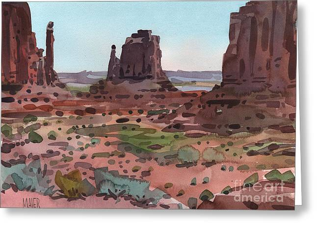 Navajo Tribal Park Greeting Cards - Downtown Monument Valley Greeting Card by Donald Maier