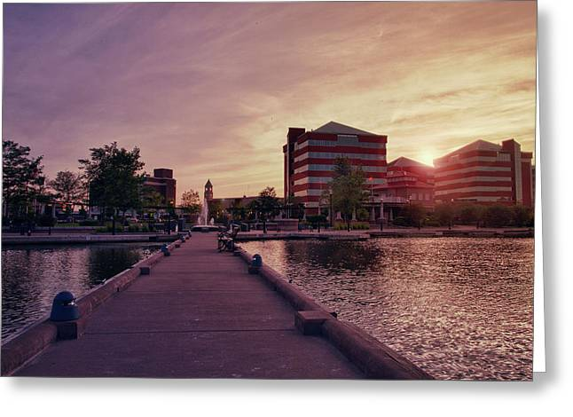 Downtown Neenah Sunset Greeting Card by Joel Witmeyer