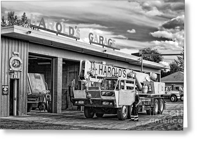 Machinery Photographs Greeting Cards - Downtown Northampton - Harolds Garage Greeting Card by HD Connelly