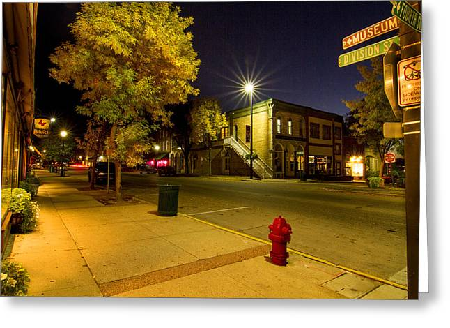 City Lights Greeting Cards - Downtown Northfields at night Greeting Card by Joe Miller