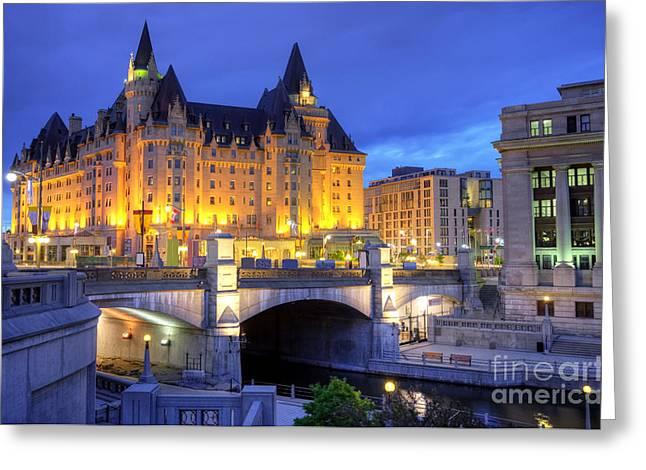 Ottawa Skyline Greeting Cards - Downtown Ottawa  Greeting Card by Denis Tangney Jr