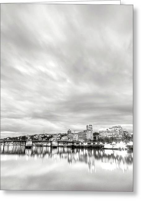 Black And White Hdr Greeting Cards - Downtown Portland Oregon Willamette River Waterfront Greeting Card by Dustin K Ryan