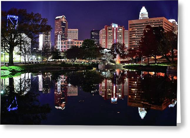 Downtown Reflection Of Charlotte Greeting Card by Frozen in Time Fine Art Photography
