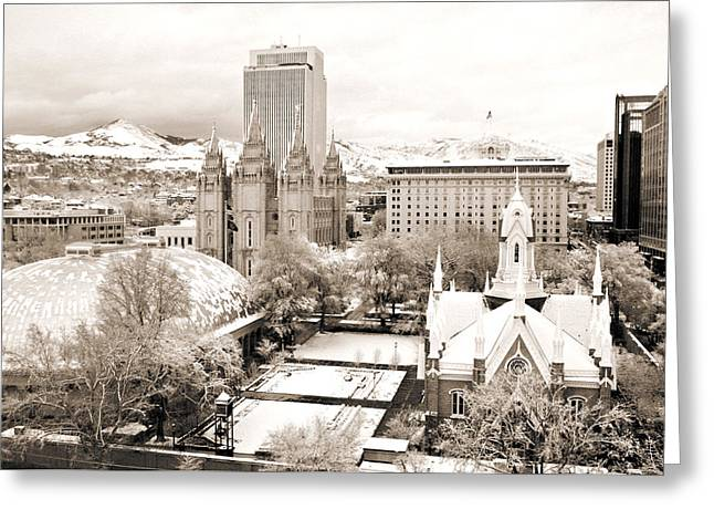 Mormon Tabernacle Greeting Cards - Downtown Salt Lake City Greeting Card by Marilyn Hunt