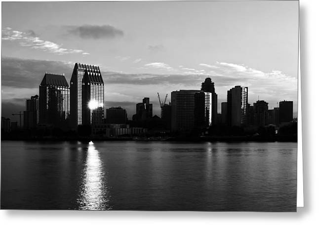 Glass Reflecting Greeting Cards - Downtown San Diego Monochrome Greeting Card by Brett Bentley
