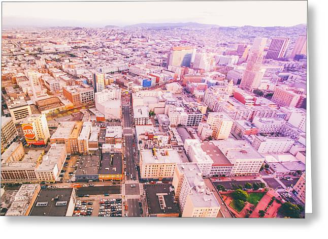 Downtown San Francisco Greeting Cards - Downtown San Francisco Cityscape Greeting Card by Ariane Moshayedi