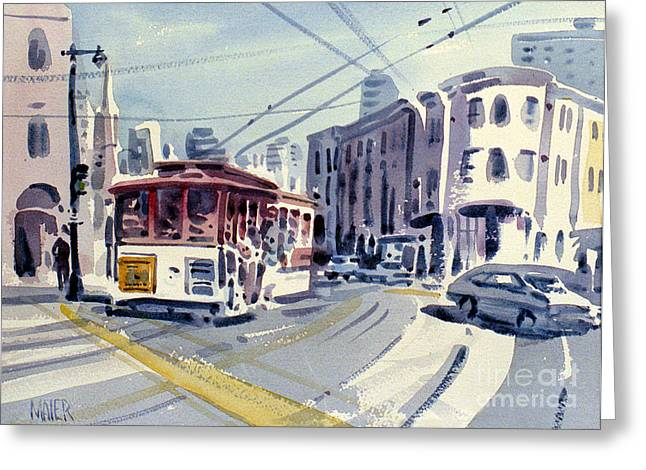 City Scenes Paintings Greeting Cards - Downtown San Francisco Greeting Card by Donald Maier
