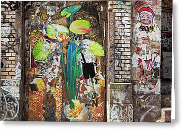 New York City Graffiti Greeting Cards - Downtown Scene Greeting Card by Joel P Black