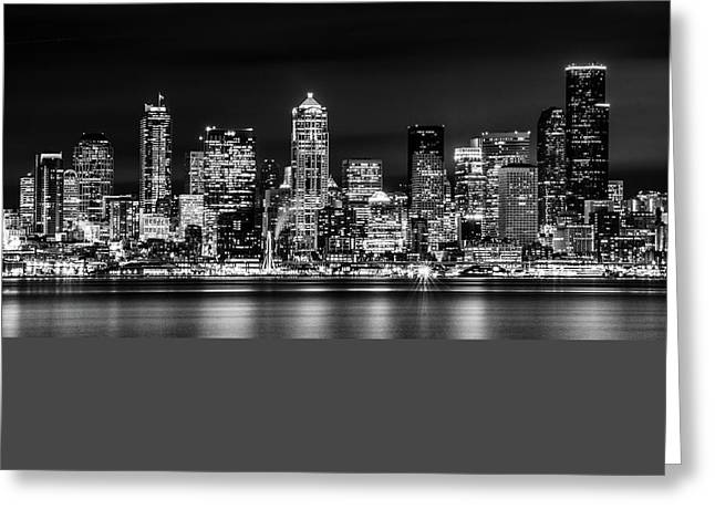 Beach At Night Greeting Cards - Downtown Seattle at Night Black and White Greeting Card by TL  Mair
