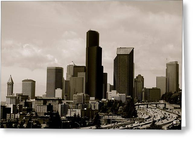 Roadway Greeting Cards - Downtown Seattle Greeting Card by Sonja Anderson