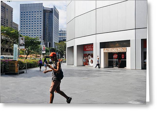Cellphone Greeting Cards - Downtown Singapore Greeting Card by Yermia Riezky Santiago