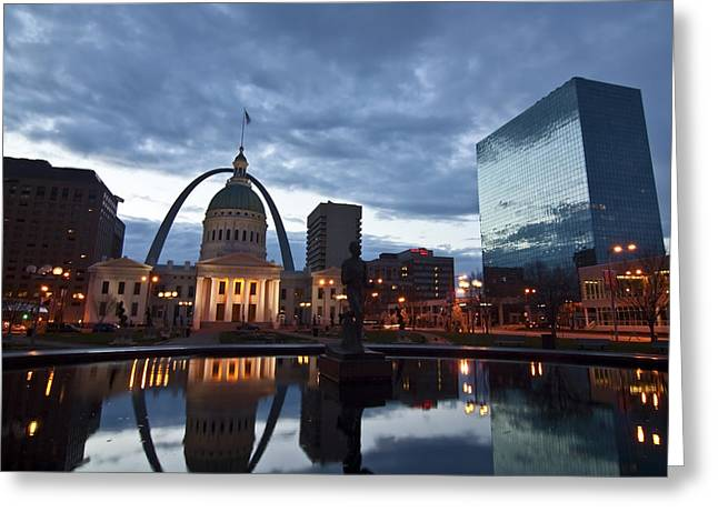 Gateway Greeting Cards - Downtown St. Louis at dawn Greeting Card by Sven Brogren