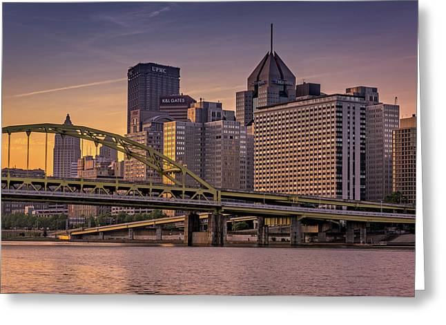 Downtown Steel Greeting Card by Rick Berk