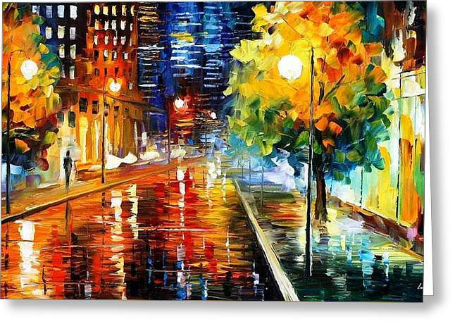 Popular Art Greeting Cards - Downtown Street - PALETTE KNIFE Oil Painting On Canvas By Leonid Afremov Greeting Card by Leonid Afremov