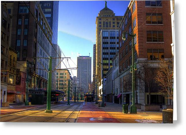 Main Street Greeting Cards - Downtown Sunday Morning In February Greeting Card by Don Nieman