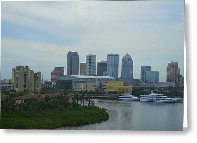 Tall Ships Greeting Cards - Downtown Tampa Greeting Card by Laurie Perry