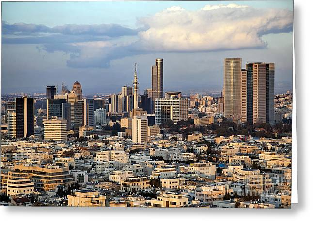 Office Space Digital Art Greeting Cards - Downtown Tel-Aviv Skyline Greeting Card by Eldad Carin